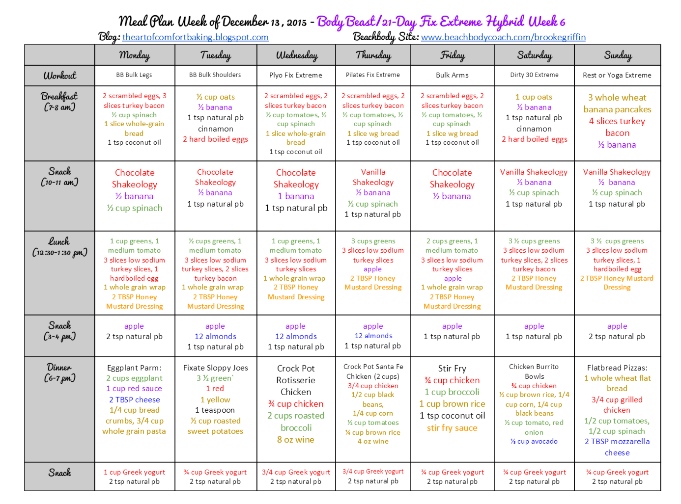 21 Day Fix Meal Plan For Calories