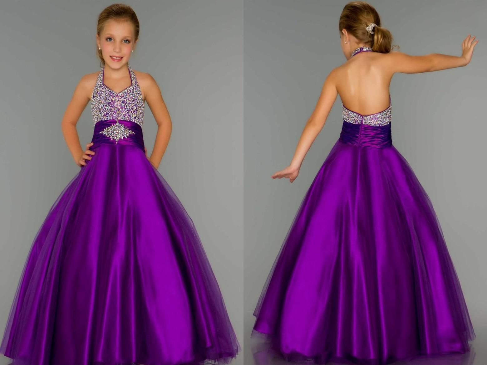 A Line Red Tulle Ball Gown Purple Halter Beads Girls