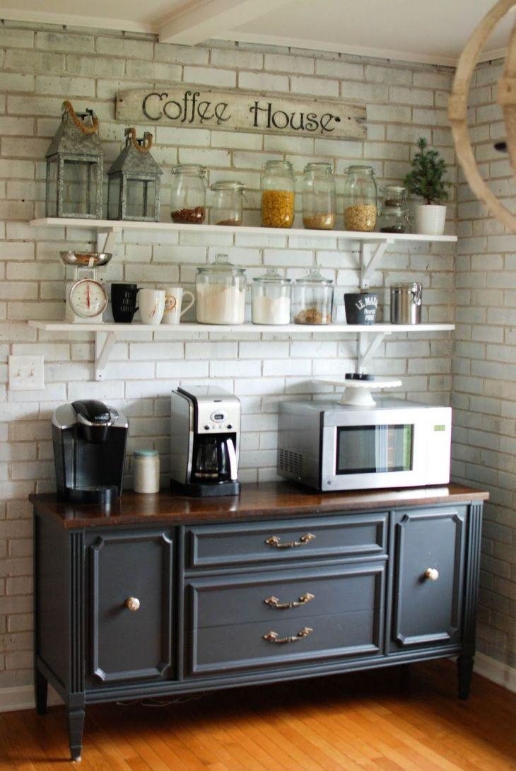 Caught in Grace Open Shelves Coffee Bar Buffet Ideas Pinterest