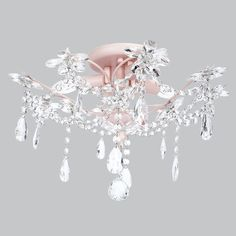 Kids Ceiling Flush Mount Chandelier Crystal Pink Decor Light Fixture Lighting