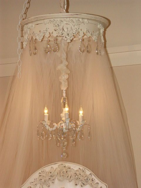 Shabby Chic Mini Chandeliers Round Bed Crown With Chandelier