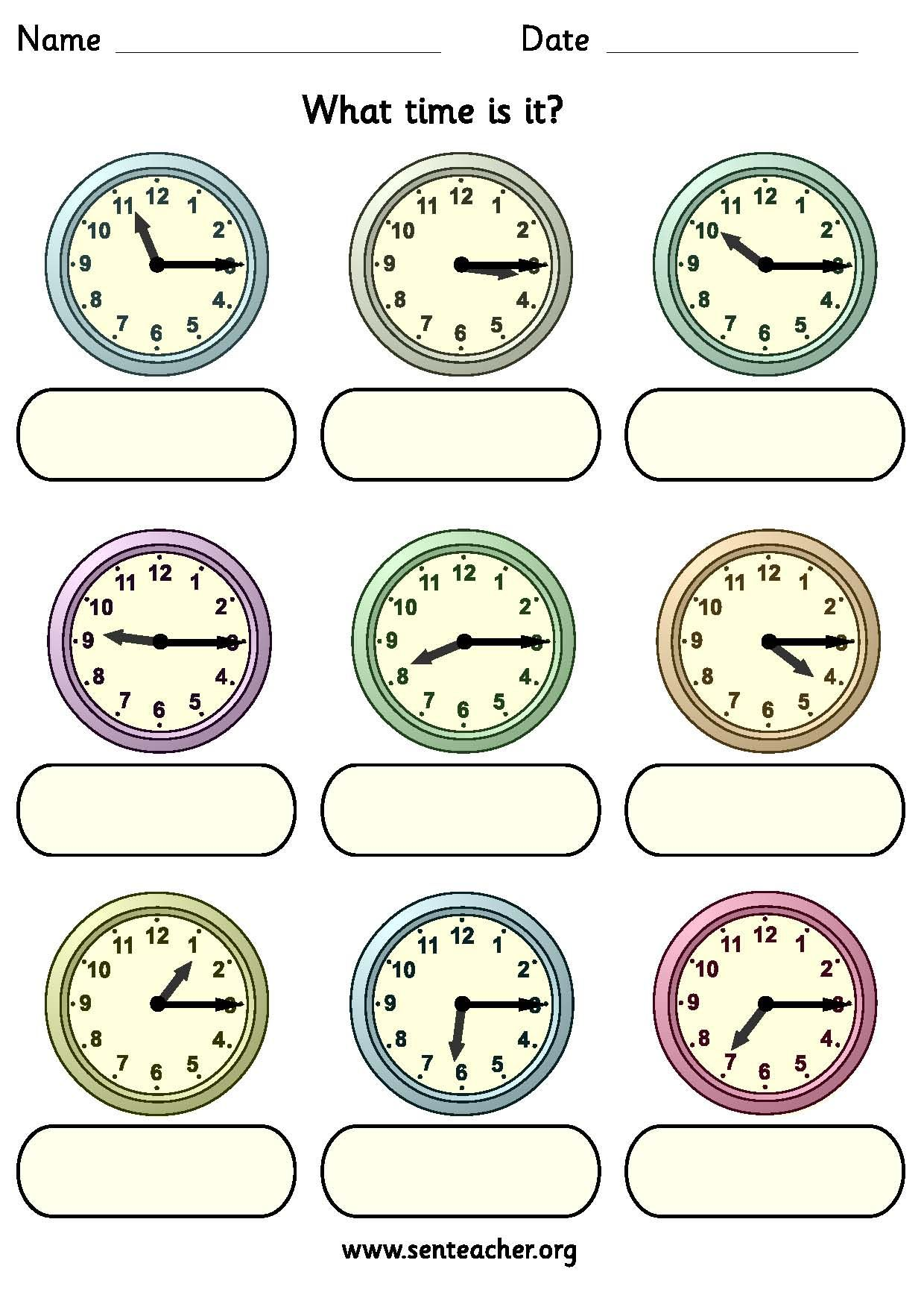 Worksheet Containing 9ogue Clocks Showing Quarter Past Times With Space To Write In The