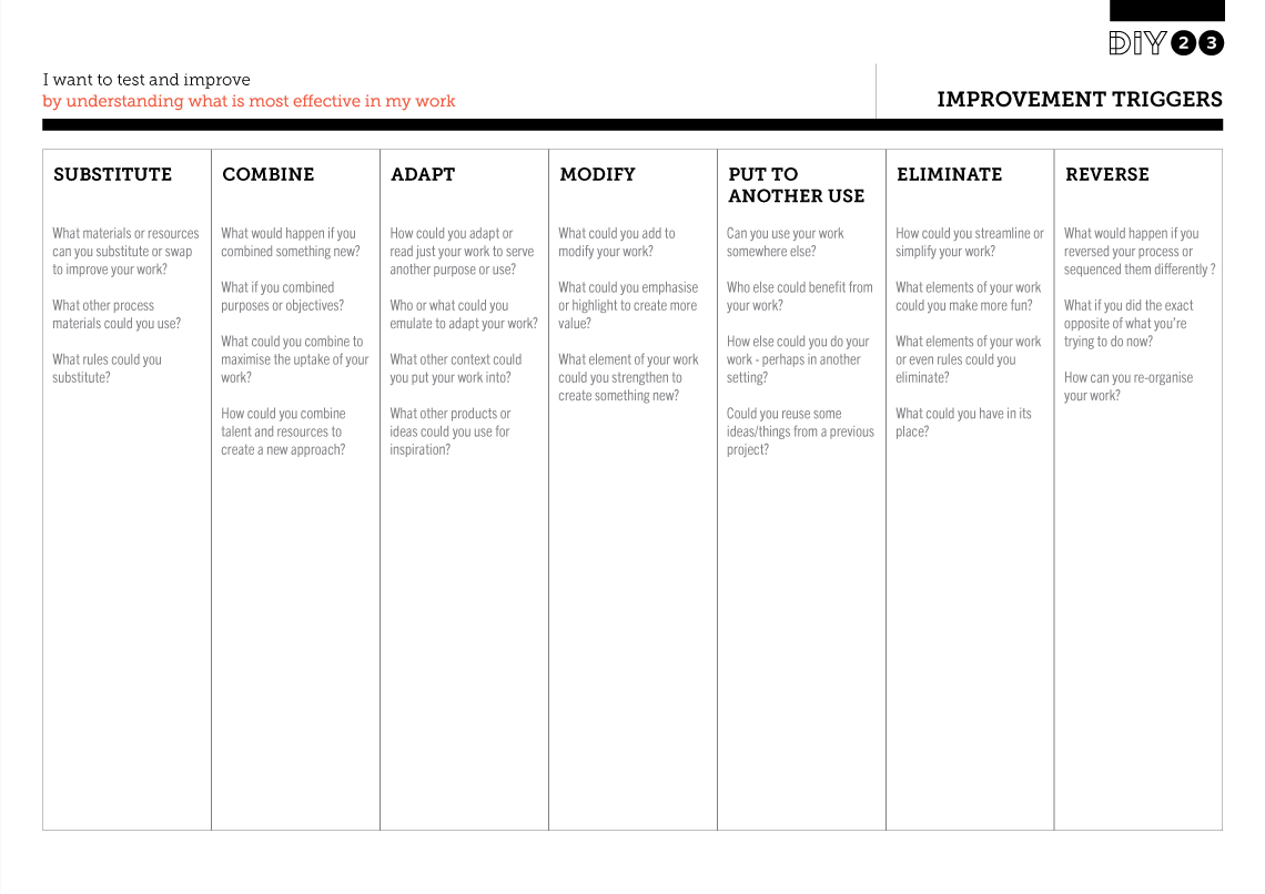 Tool Worksheet Image For Improvement Triggers