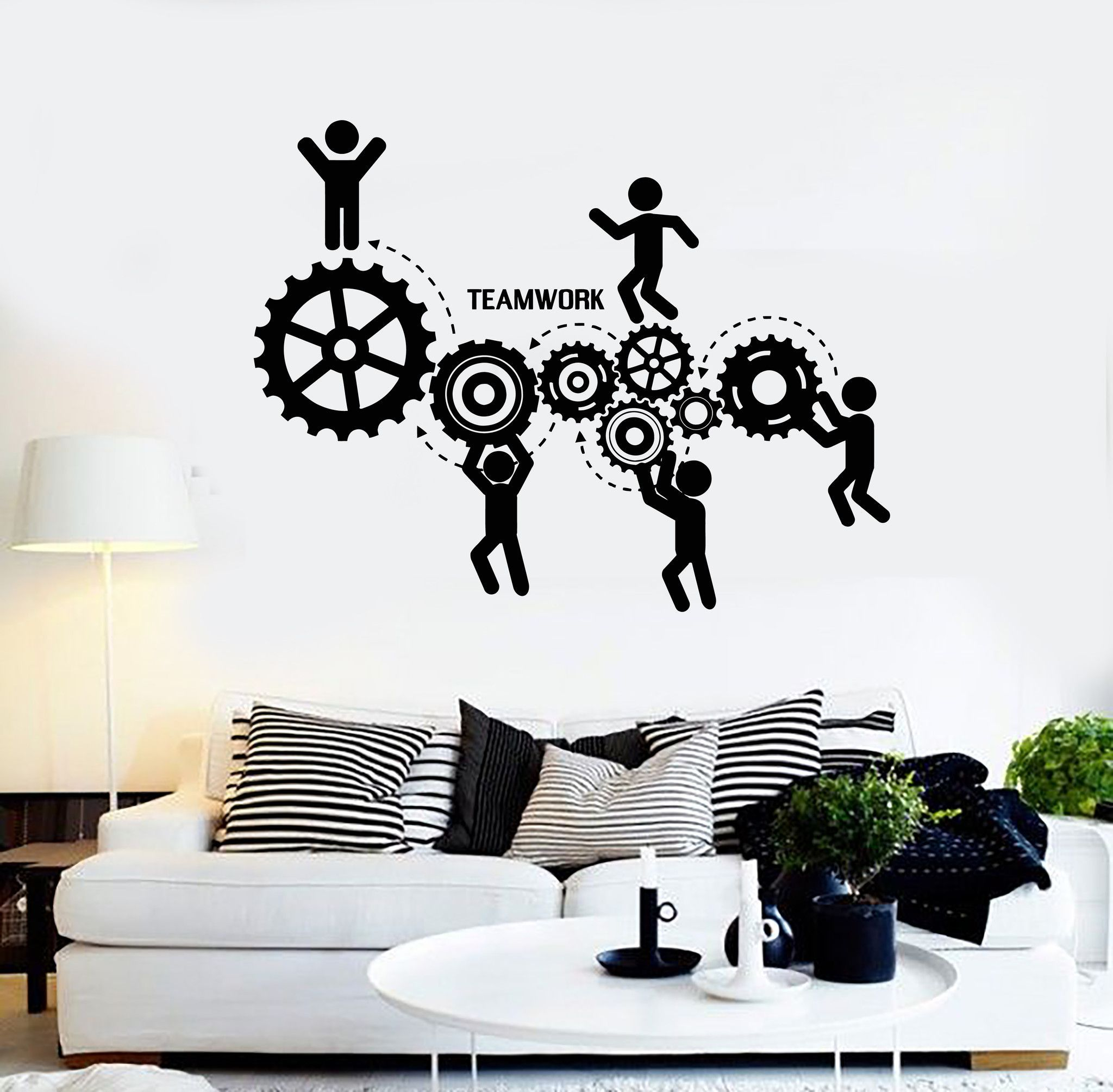 vinyl wall decal teamwork office motivation worker on wall stickers id=76137