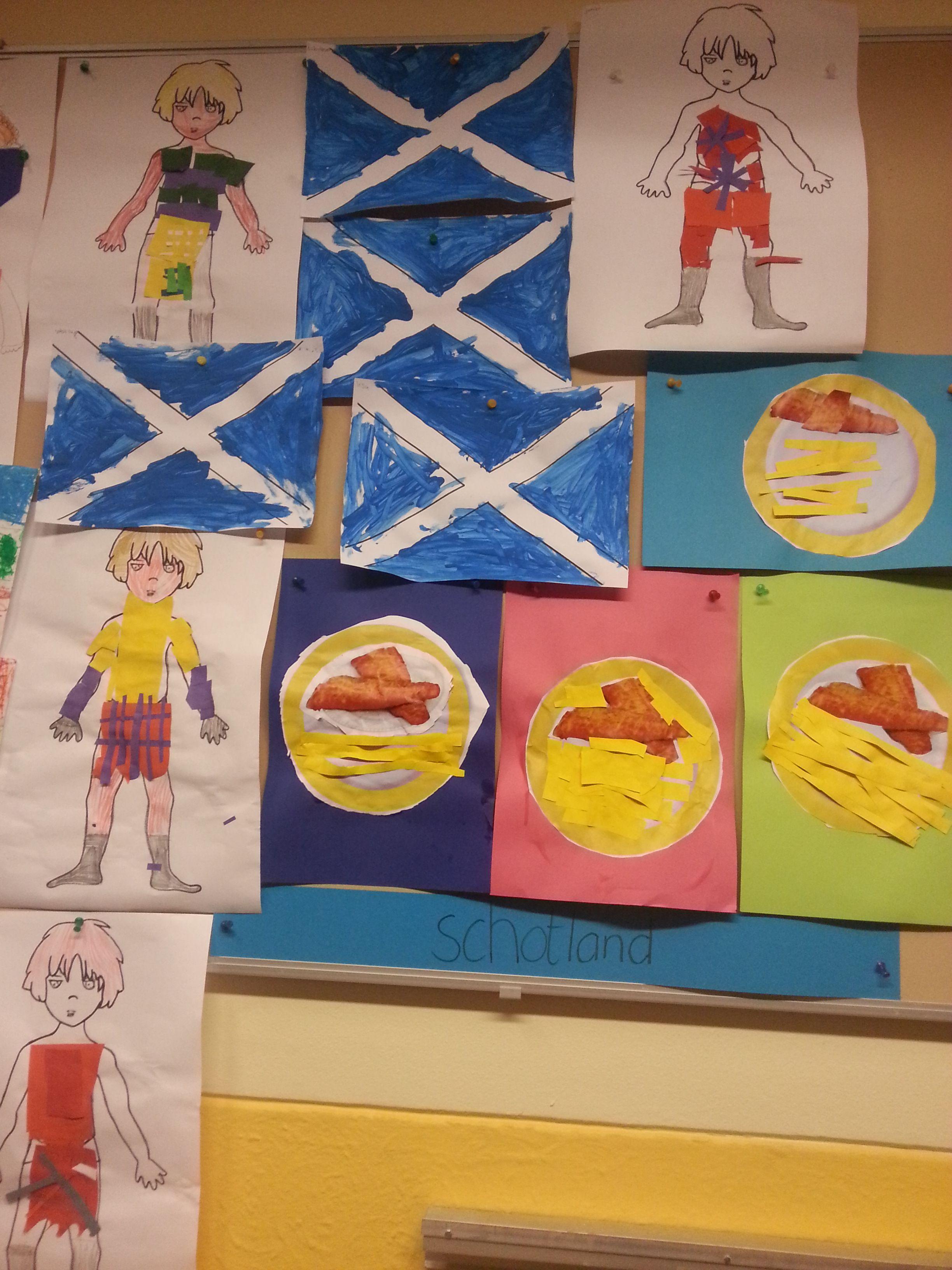 Schotland Vlag Fish Amp Chips Kilt Plakken