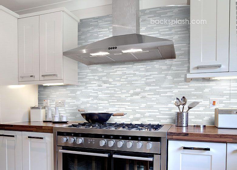 Glass Tile Backsplash White Cabinets