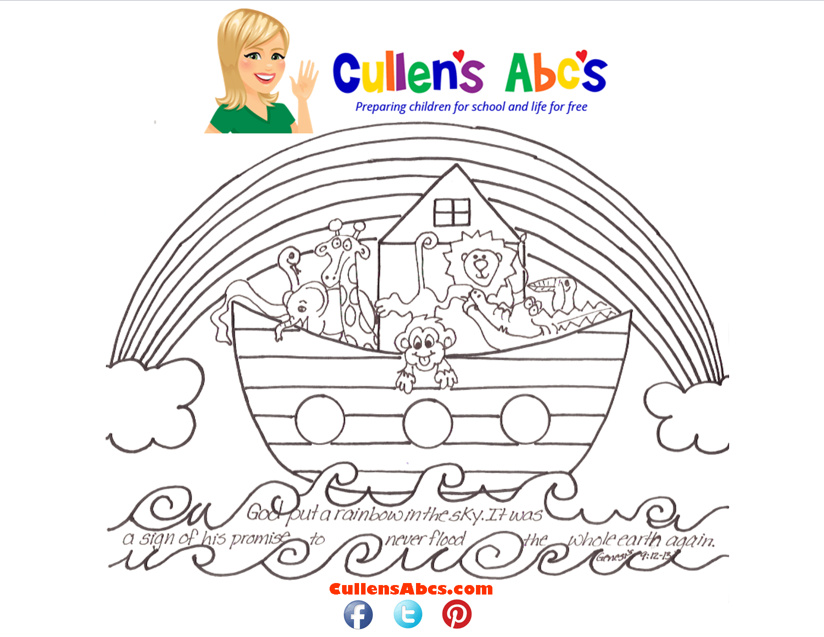 Noah S Ark Bible Key Point Coloring Page Here Is A Video