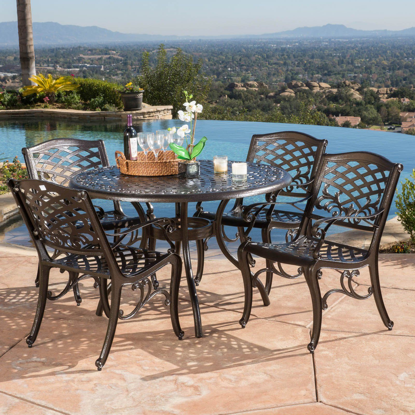 Best Selling Home Firenze Piece Aluminum Patio Dining Set From