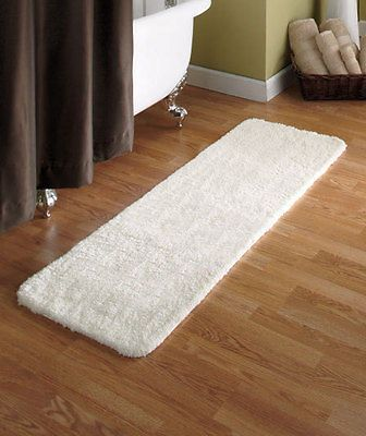 "54"" ivory microfiber plush bath runner rug ultra absorbent soft on"