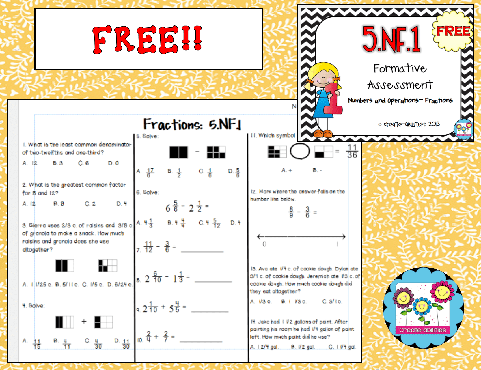 Free 5 1 Formative Assessment And Answer Key A Free Assessment For Adding And Subtracting