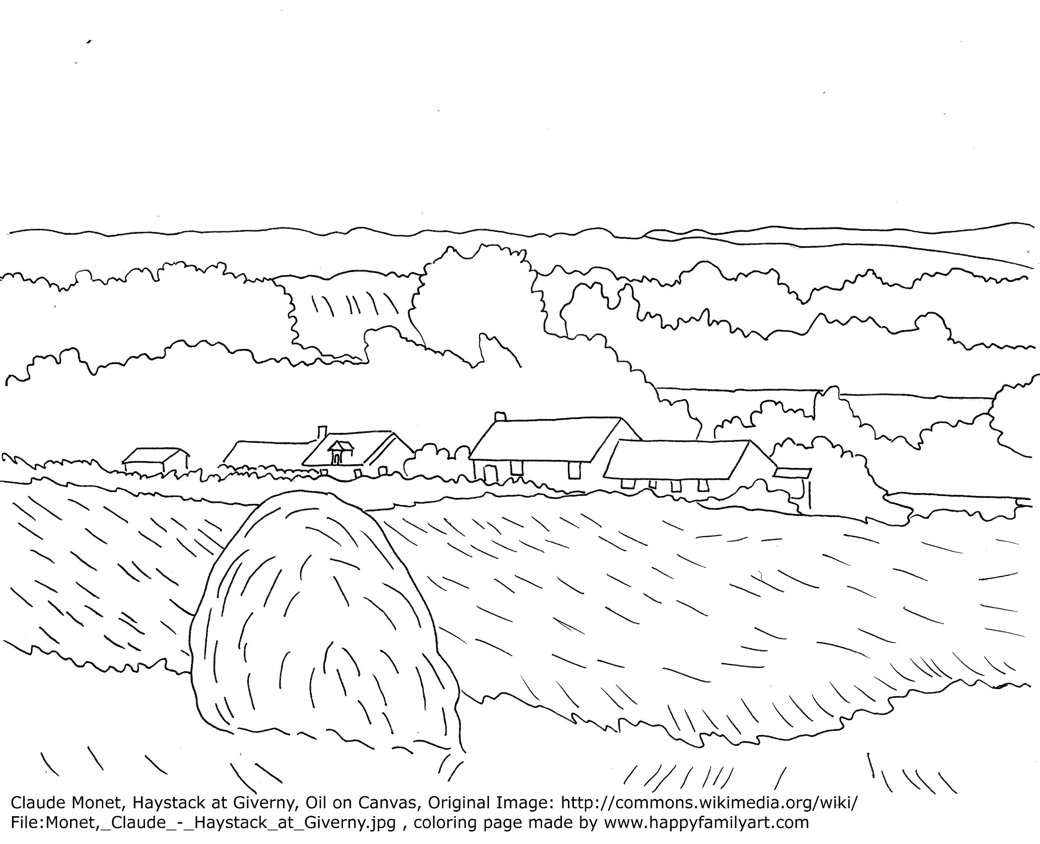 Claude Monet Haystacks Famous Paintings Coloring Pages