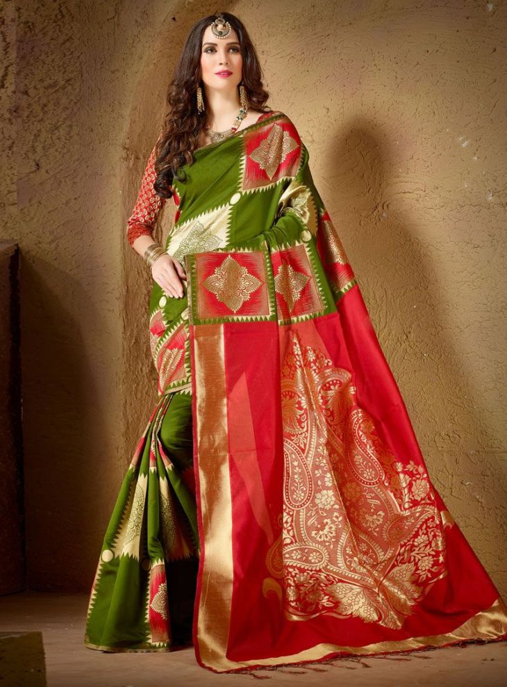 Green Silk Festival Wear Saree   Silk Saree  Pinterest