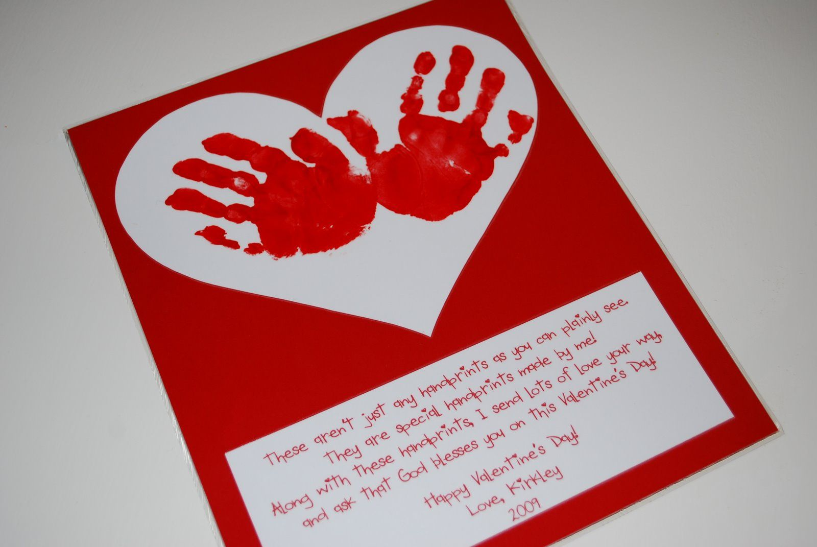 God Bless You On Valentine S Day Handprint Craft And Poem Used Djb Heart Of Dixie Font