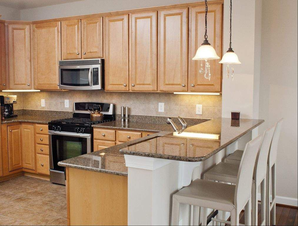 Maple cabinets and grey granite countertops | kitchens ... on What Color Backsplash With Maple Cabinets  id=34141