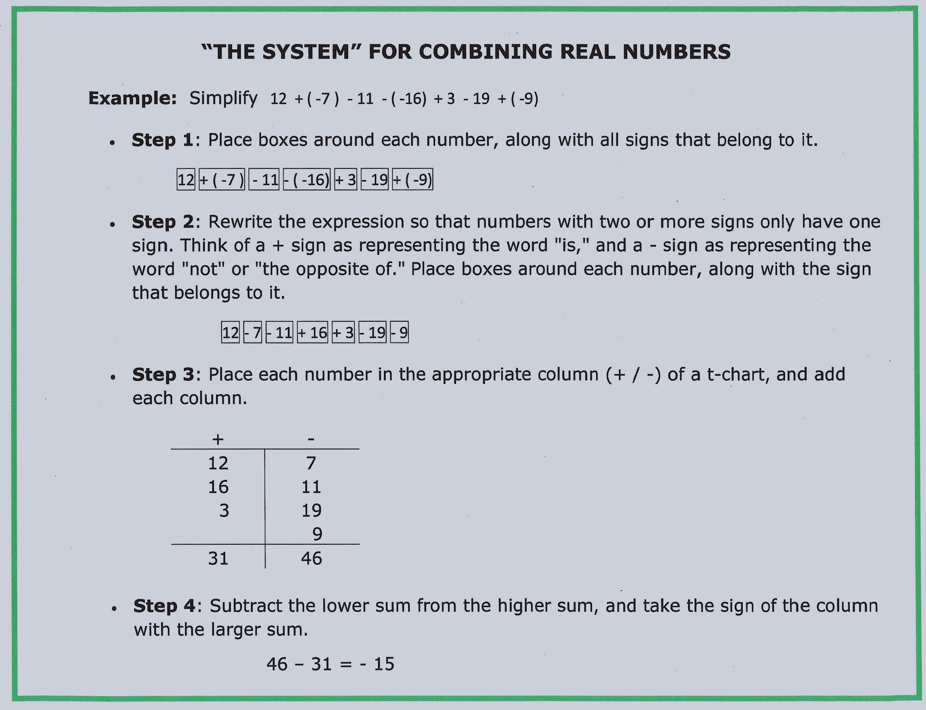 Foolproof System For Adding Subtracting Integers