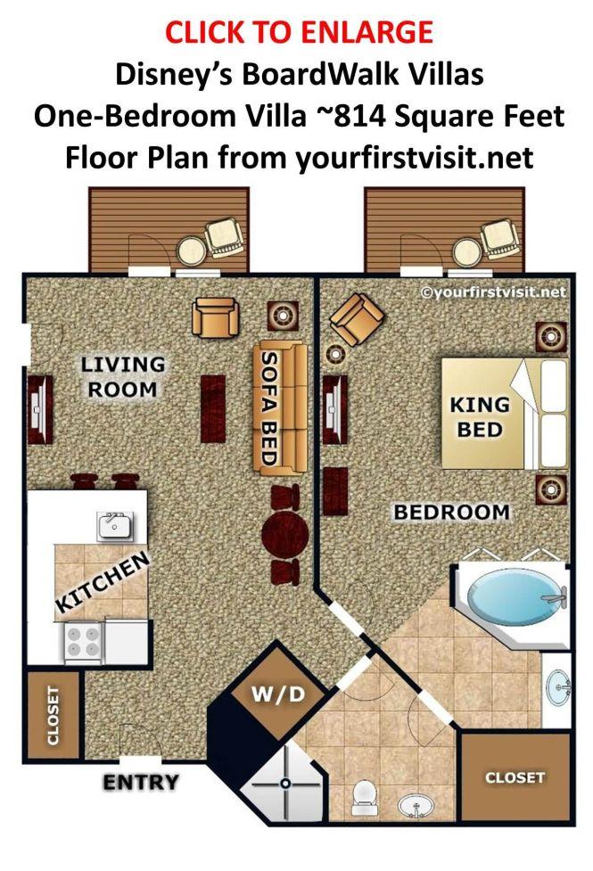 Disney S Boardwalk Villas One Bedroom Villa Floor Plan From Yourfirstvisit Net