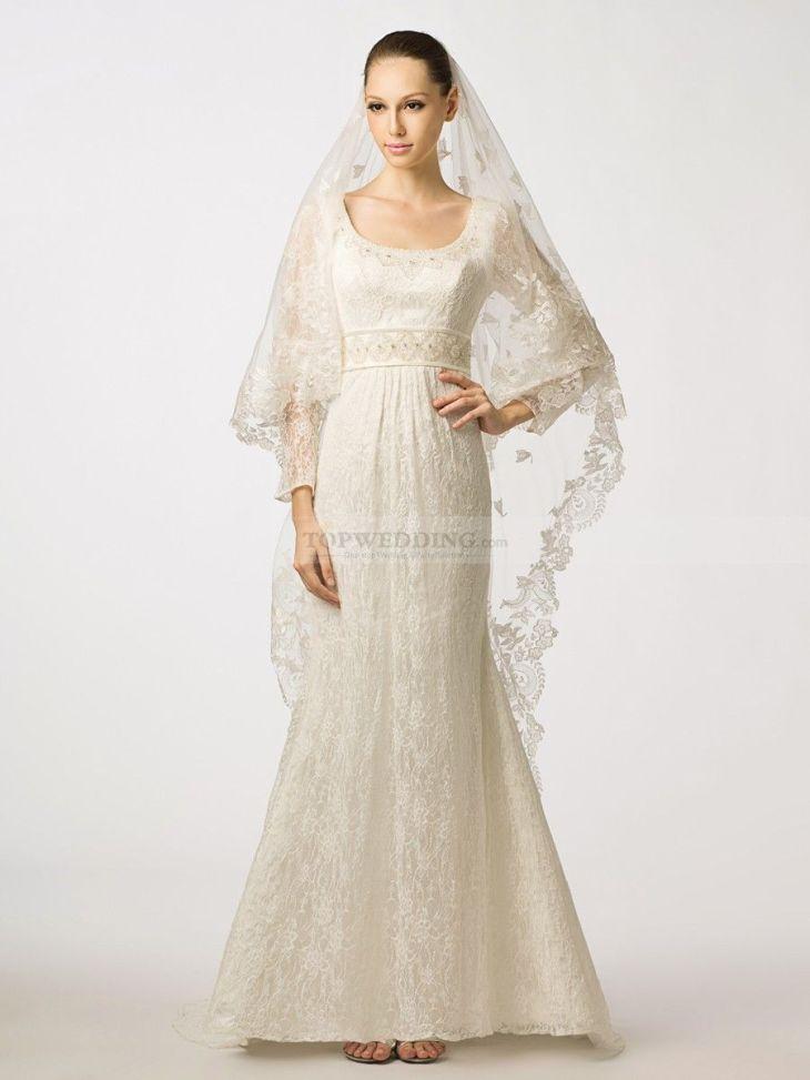 Long Sleeved Scoop Neckline Lace Mermaid Wedding Dress with Beaded