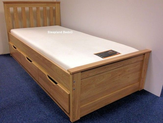 Oak Almeria Single Bed With Storage Drawers Low Captains Cabin