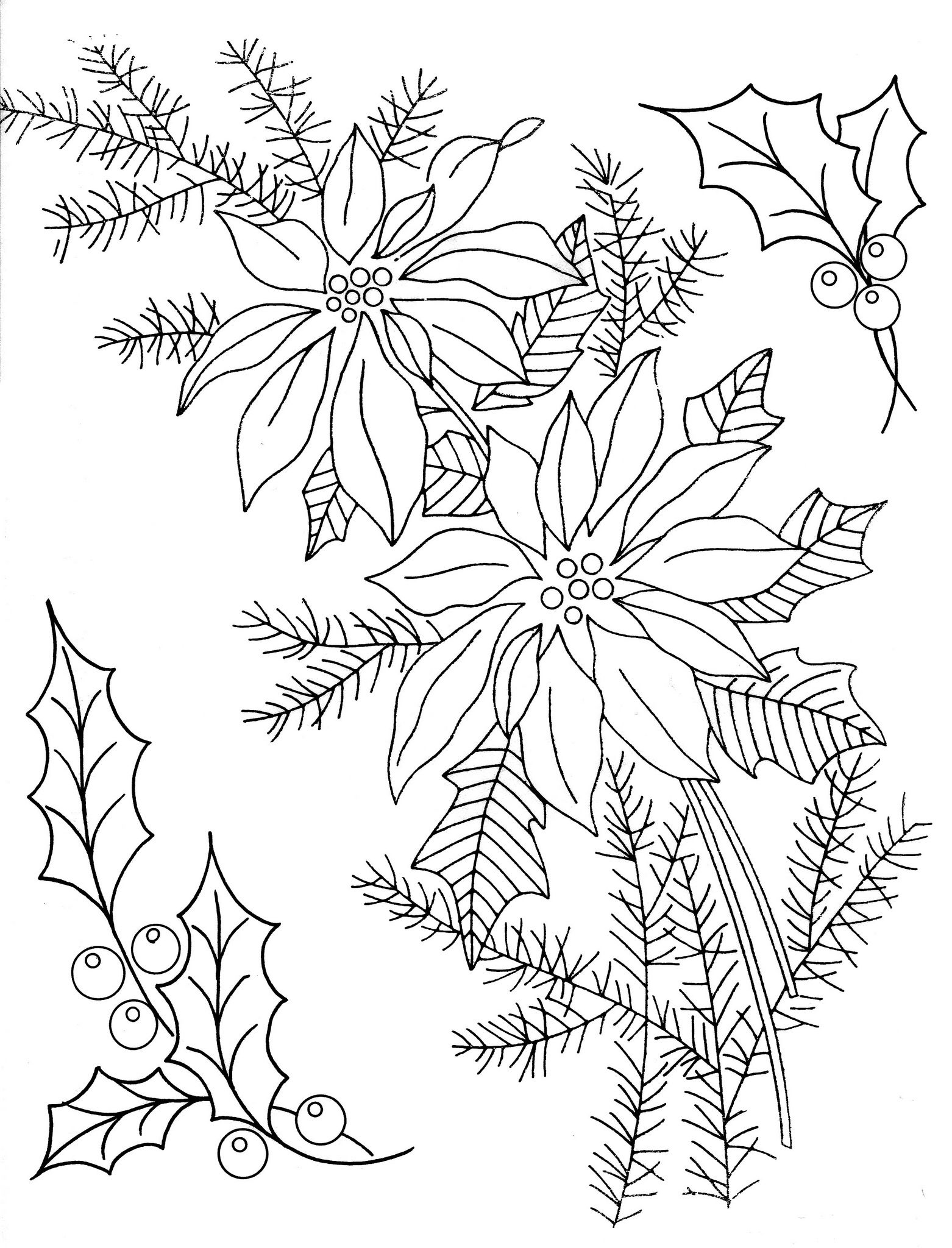 Holly Amp Poinsettia Embroidery Patterns