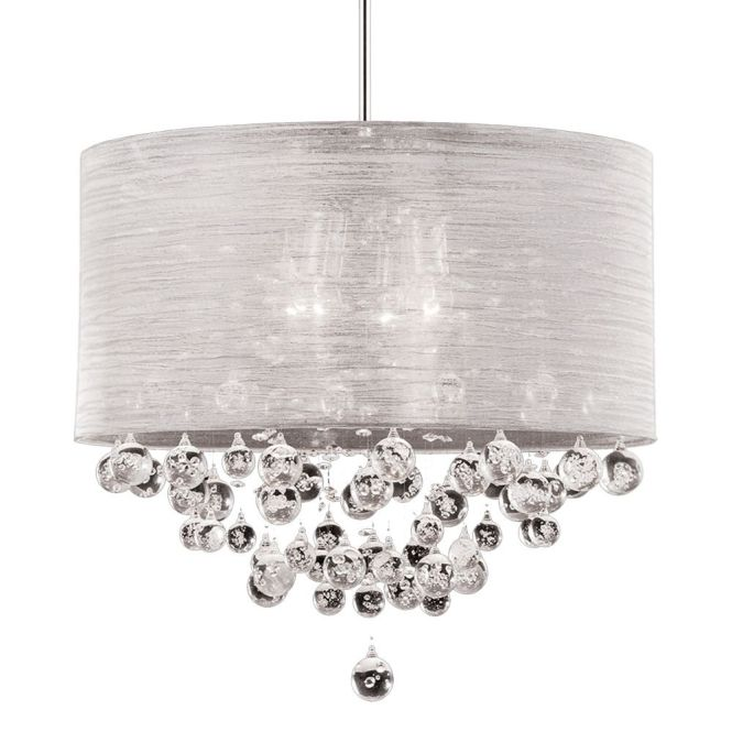 New 4 Lamp Crystal Chandelier Pendant Dia Silk Drum Shade Ceiling Light