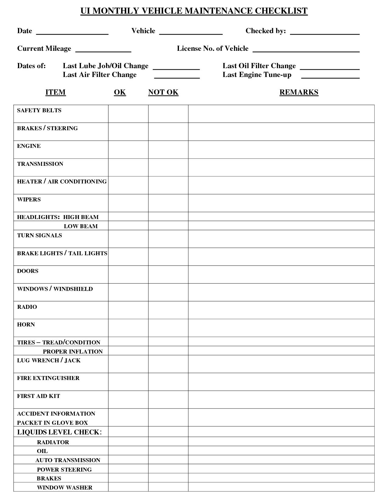 Vehicle Maintenance Checklist Template Lonewolf