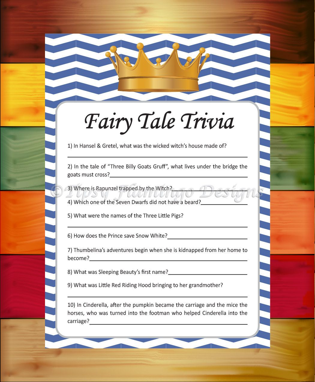 Baby Shower Game Fairy Tale Trivia Shower Game Royal Blue And White Prince Crown Baby