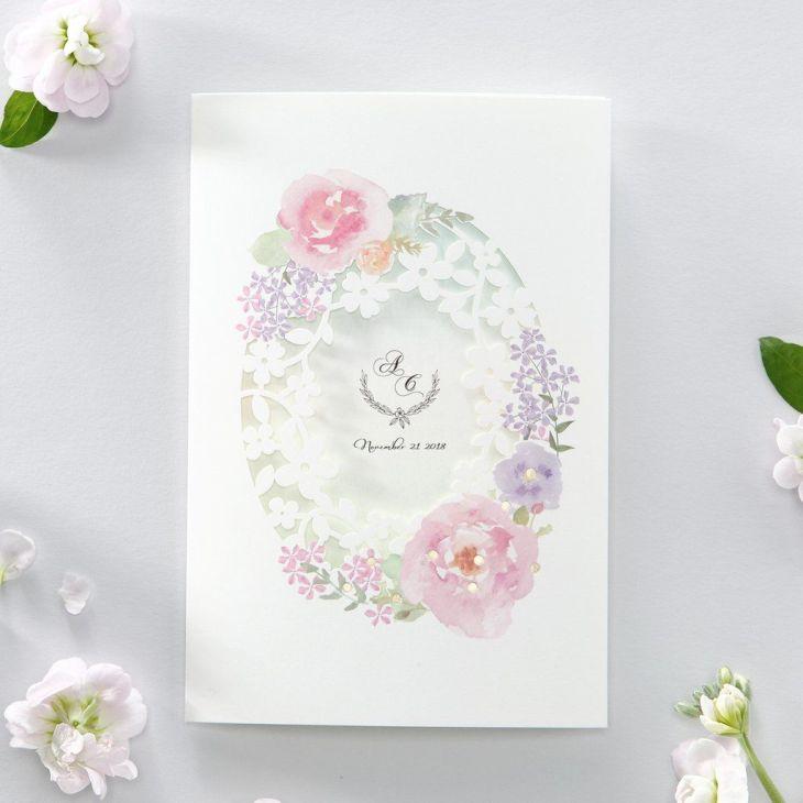 Watercolor Flower Laser Cut Floral Wedding Invitation Print both