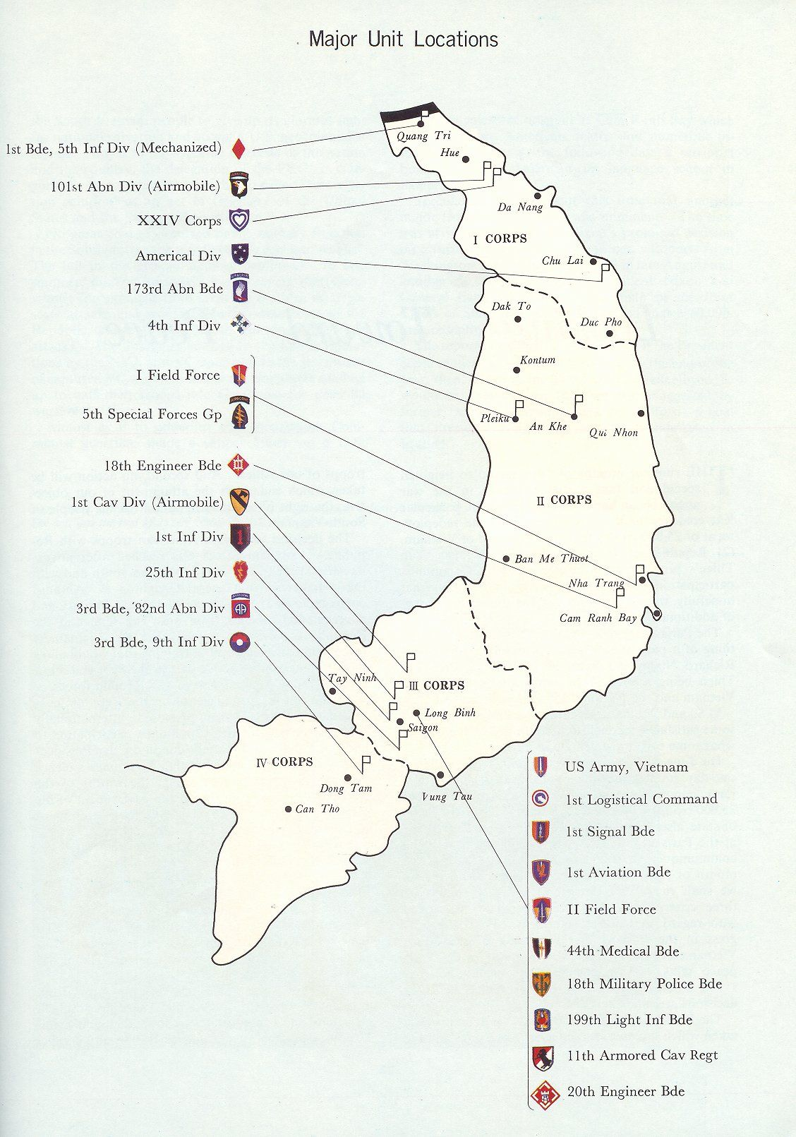 Map Military Of Vietnam Major Units Locations