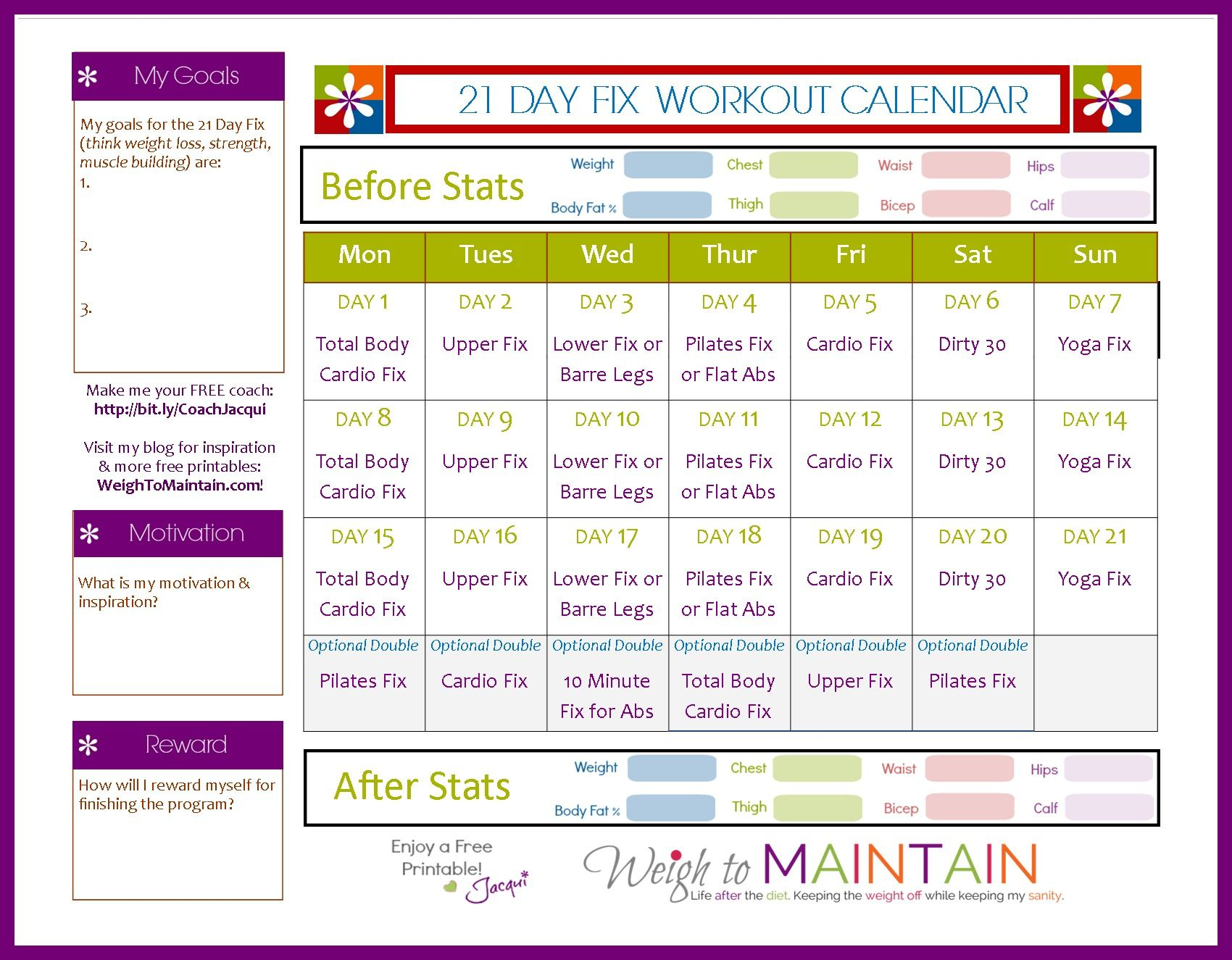 21 Day Fix Workout Schedule Free Download Weigh To Maintain