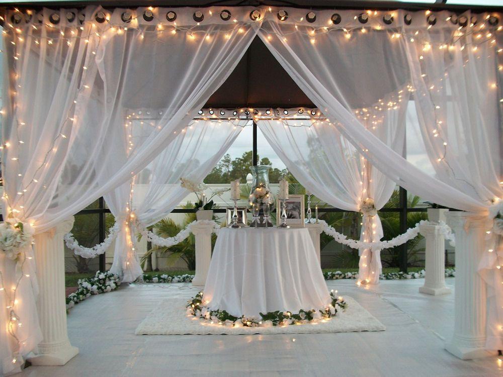 Patio Pizazz Outdoor Gazebo White Wedding Drapes....Price