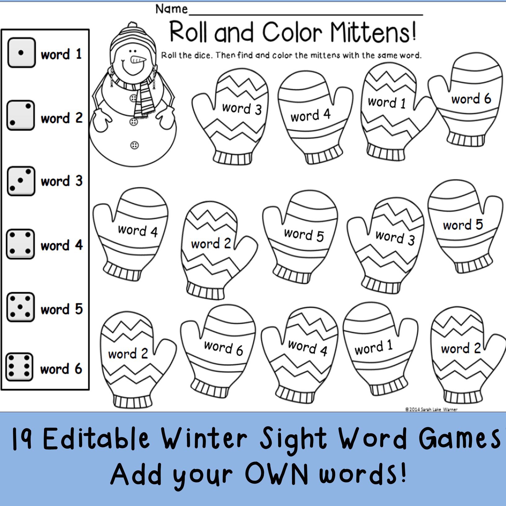 Winter Sight Word Printables Editable