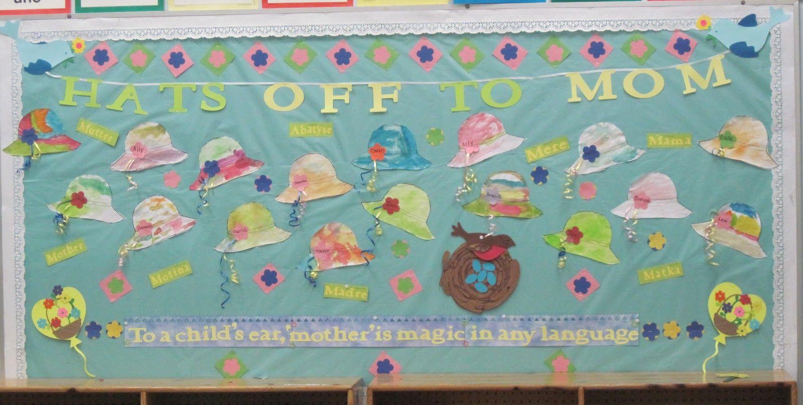 Glitter And Gluesticks Forever Blazin Boards May Bulletin Board Hats Off To Mom Bulletin