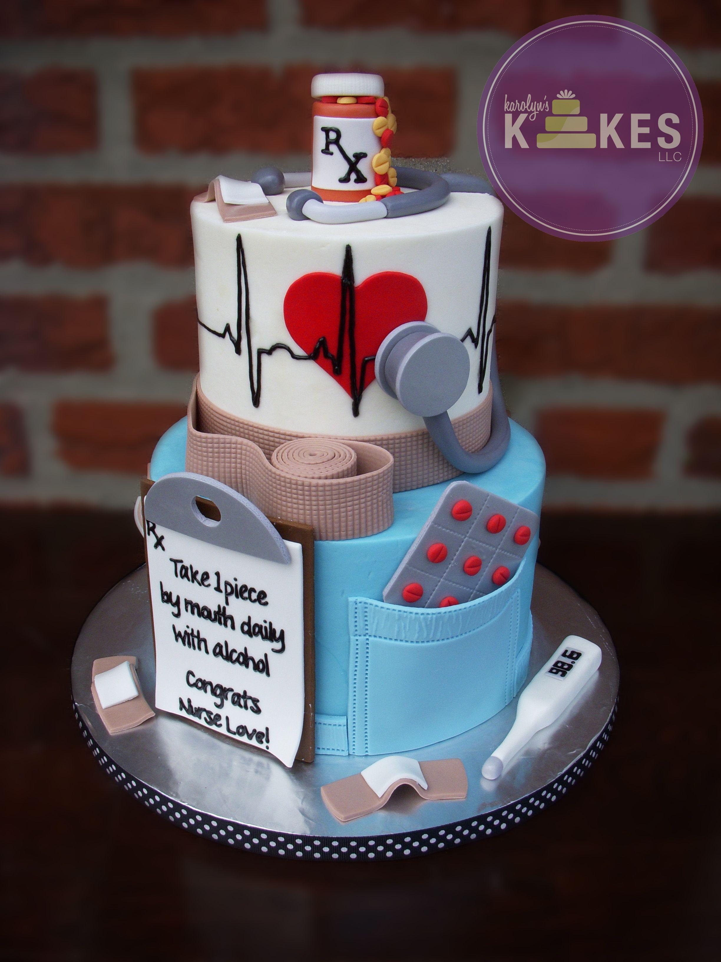 Nurse Graduation Cake Cakes Are Iced In Buttercream