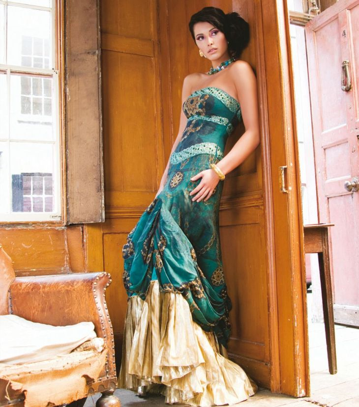 wedding reception dressJade and Gold Dress  sona couture