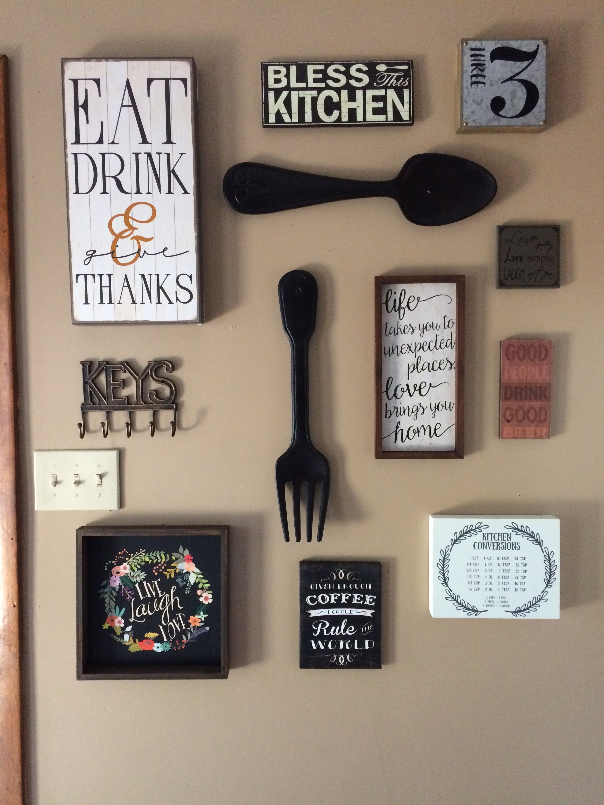 my kitchen gallery wall all decor from hobby lobby and ross completed the project in 1 hour on kitchen decor themes hobby lobby id=86282