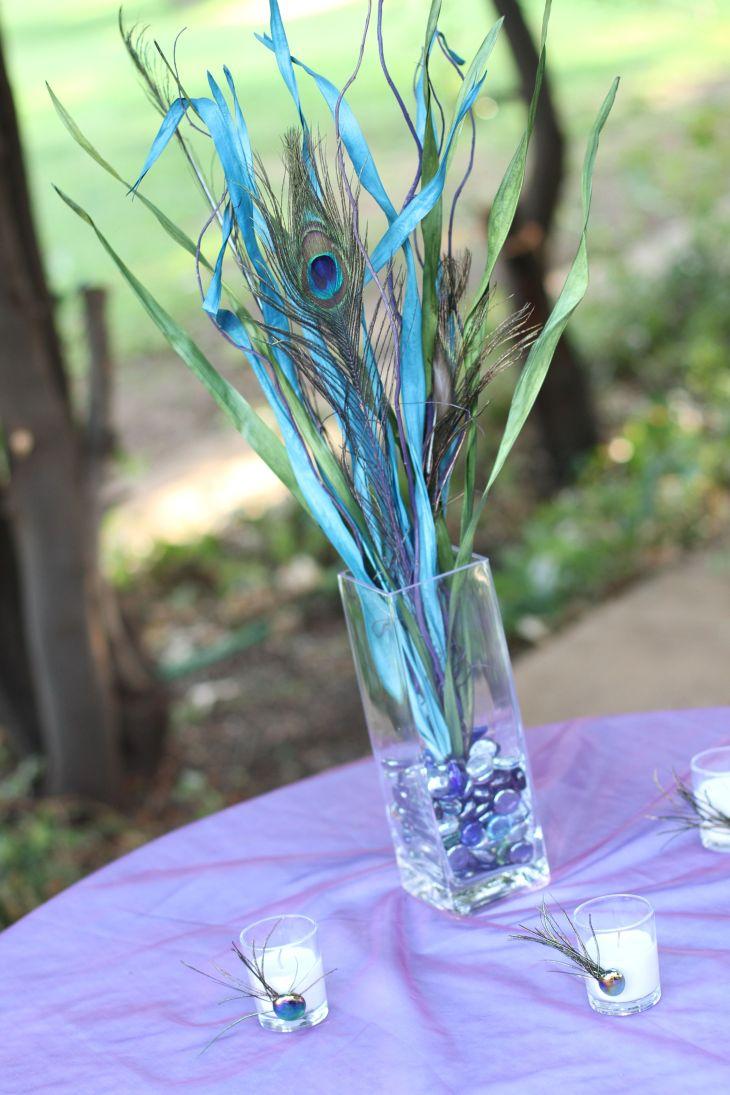 peacock wedding centerpiece tablescapesbydesign