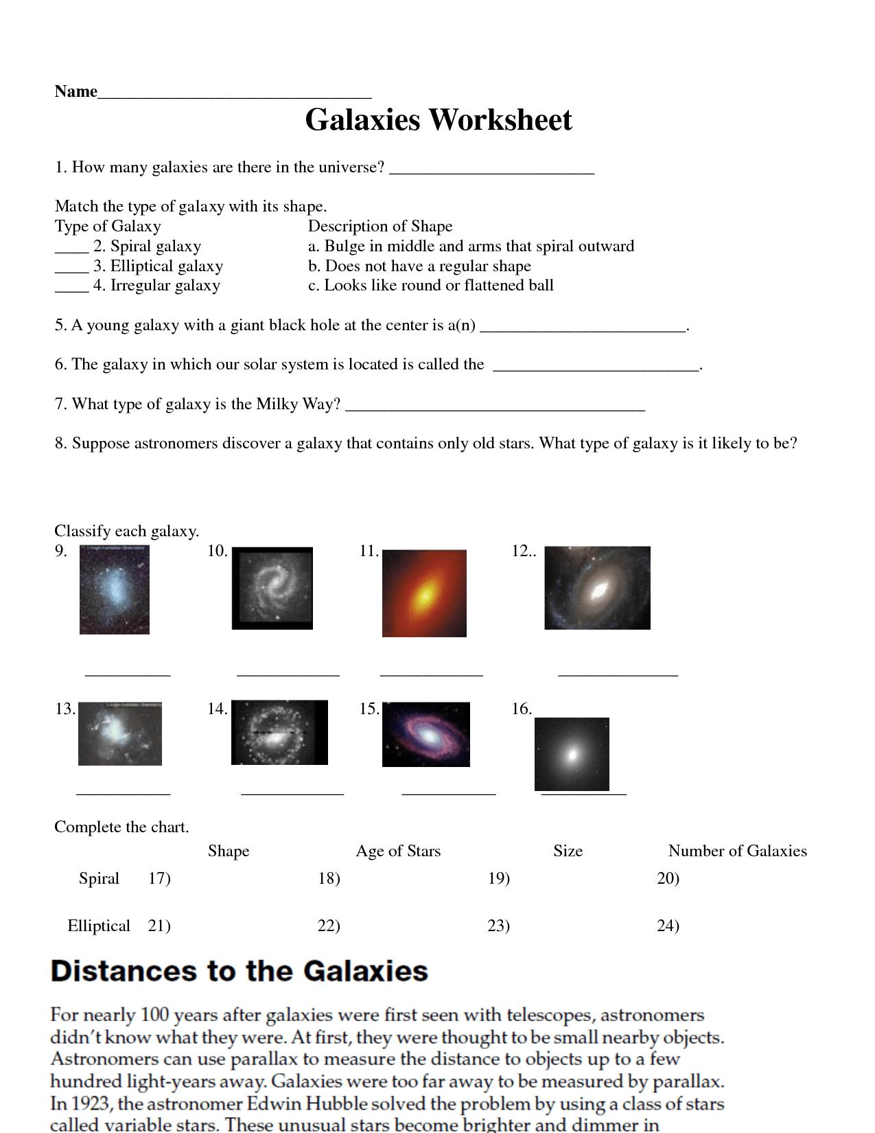 Galaxy Worksheet