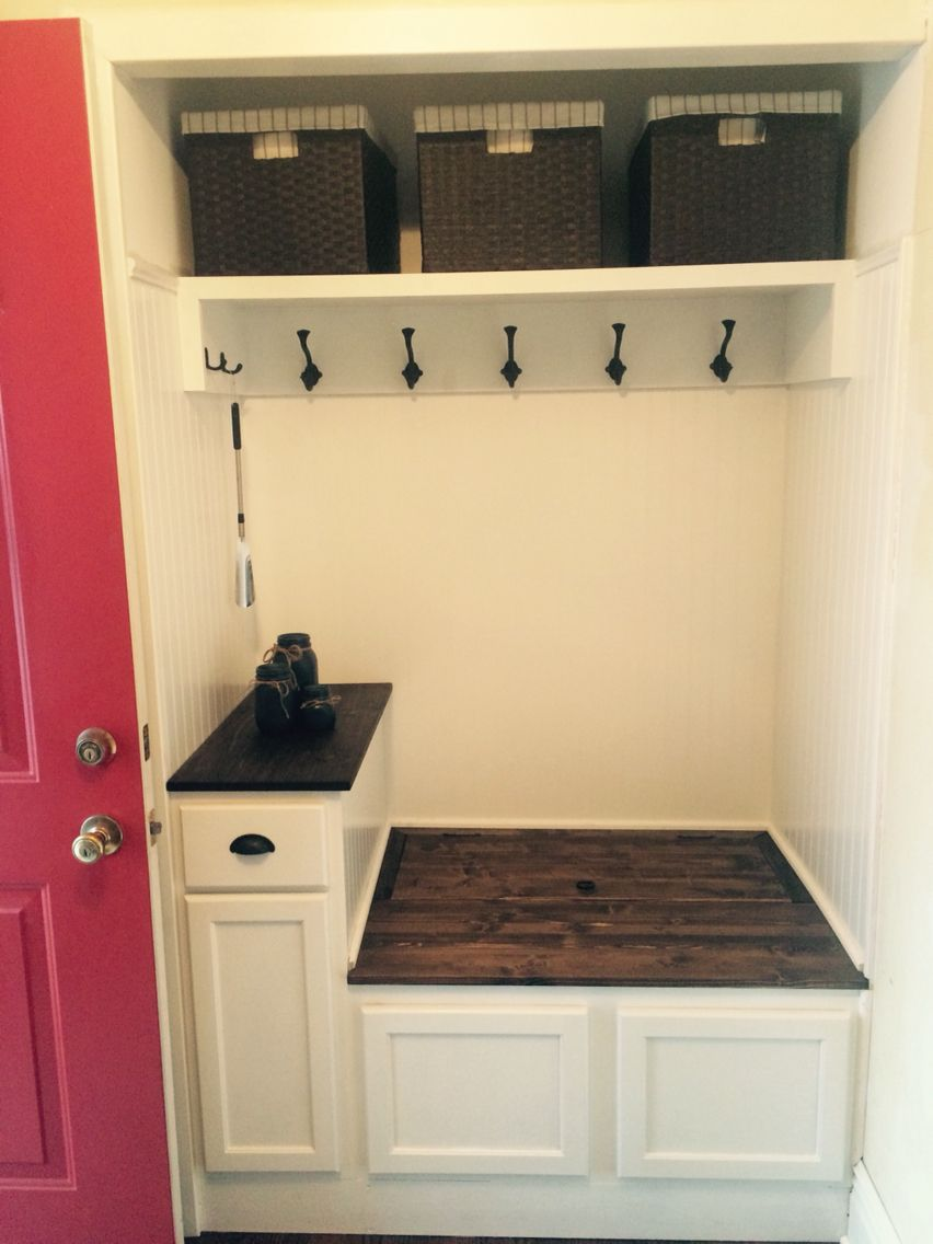 Entry Way Closet Turned Into Mini Mudroom Great Way To