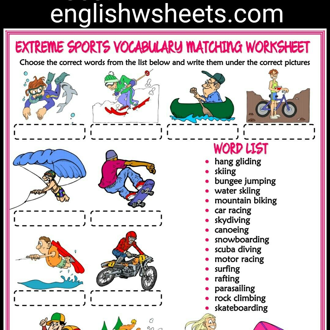 Extreme Sports Esl Printable Vocabulary Matching Exercise Worksheet For Kids Extreme Sports