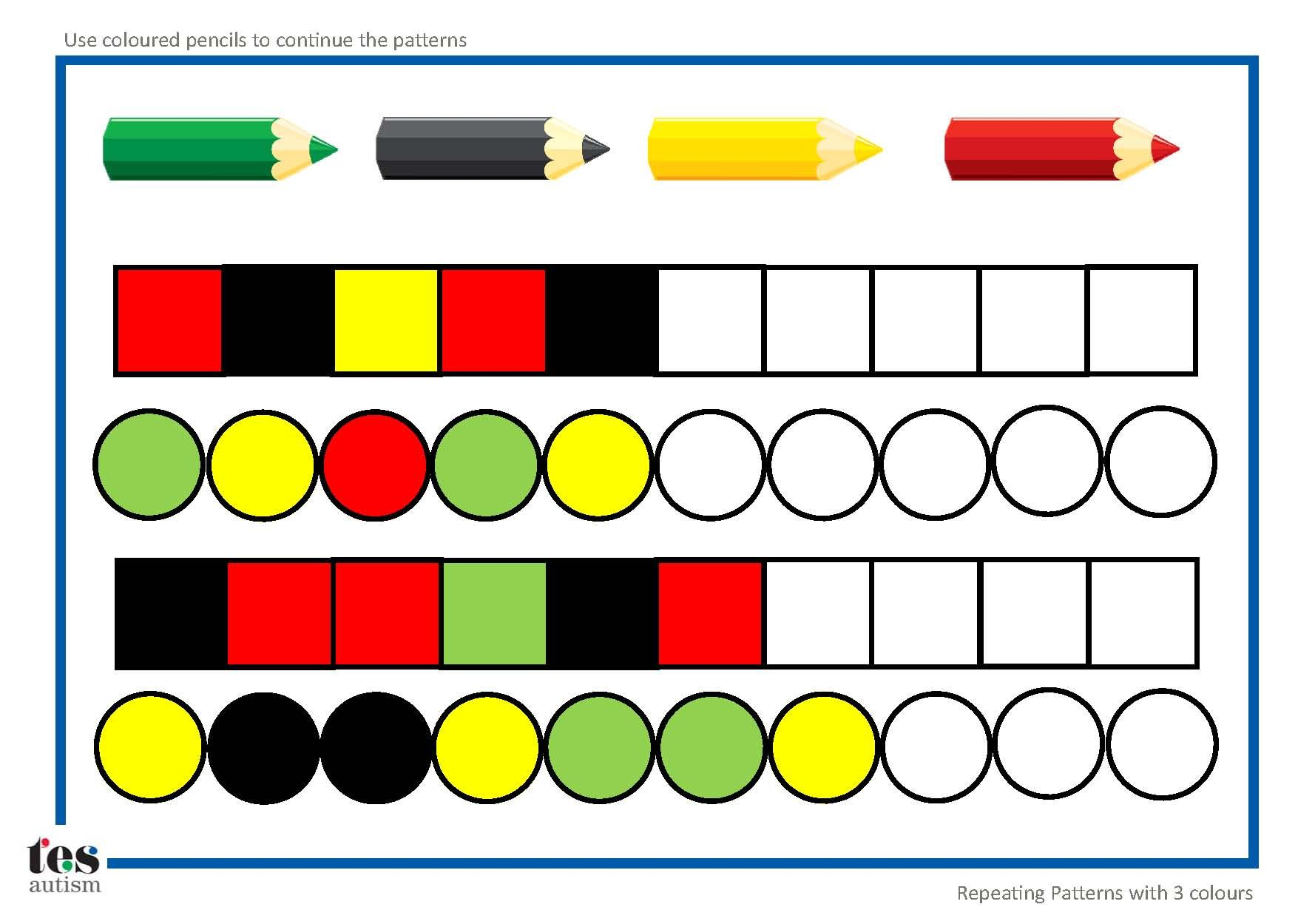 Repeating Patterns With 3 Colours 4 Worksheet Activities Pupils Continue The Patterns Using