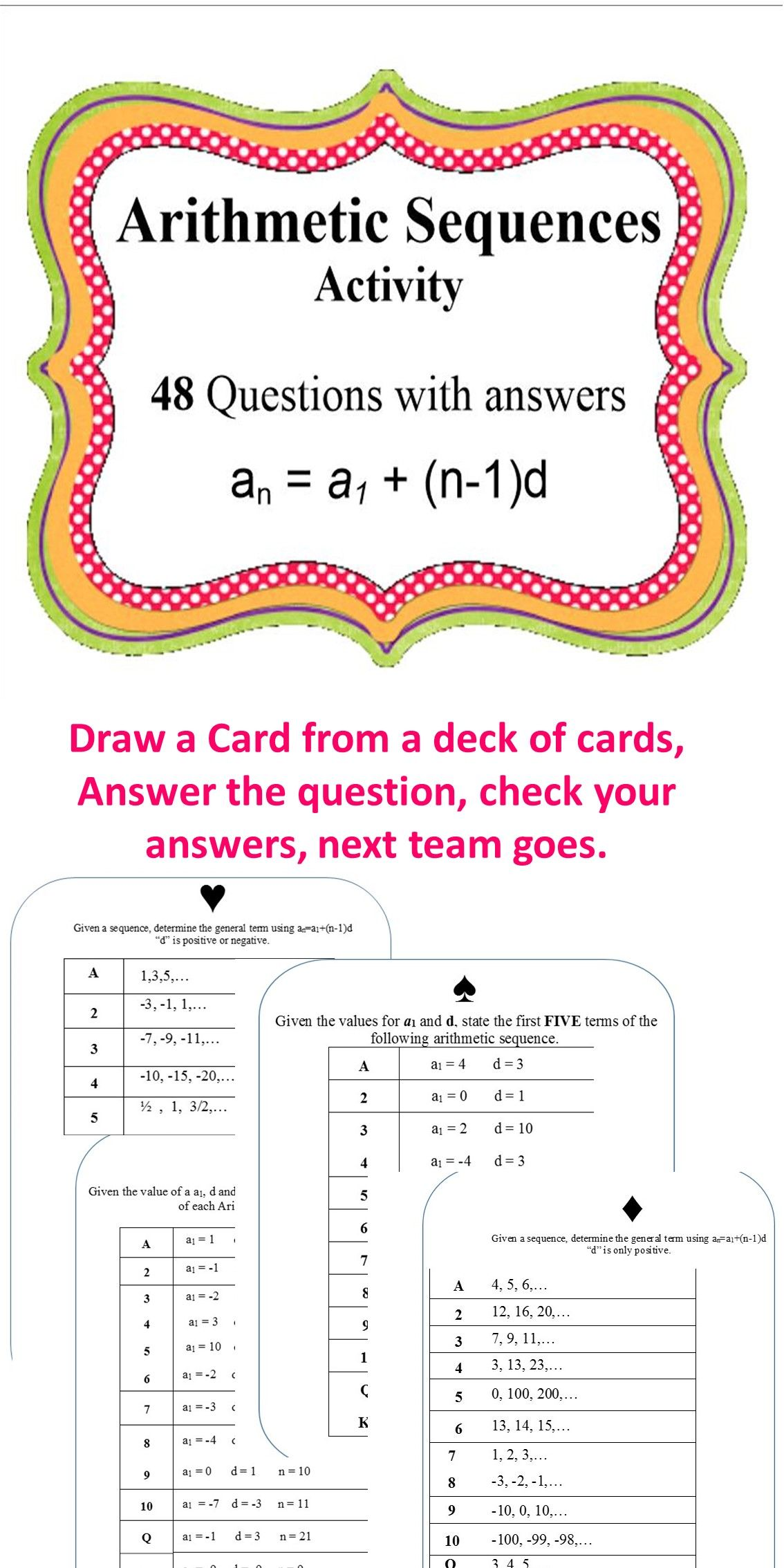 Arithmetic Sequences Hsf Bf A 1 Amp Hsf Bf A 2 Editable 48 Questions Game