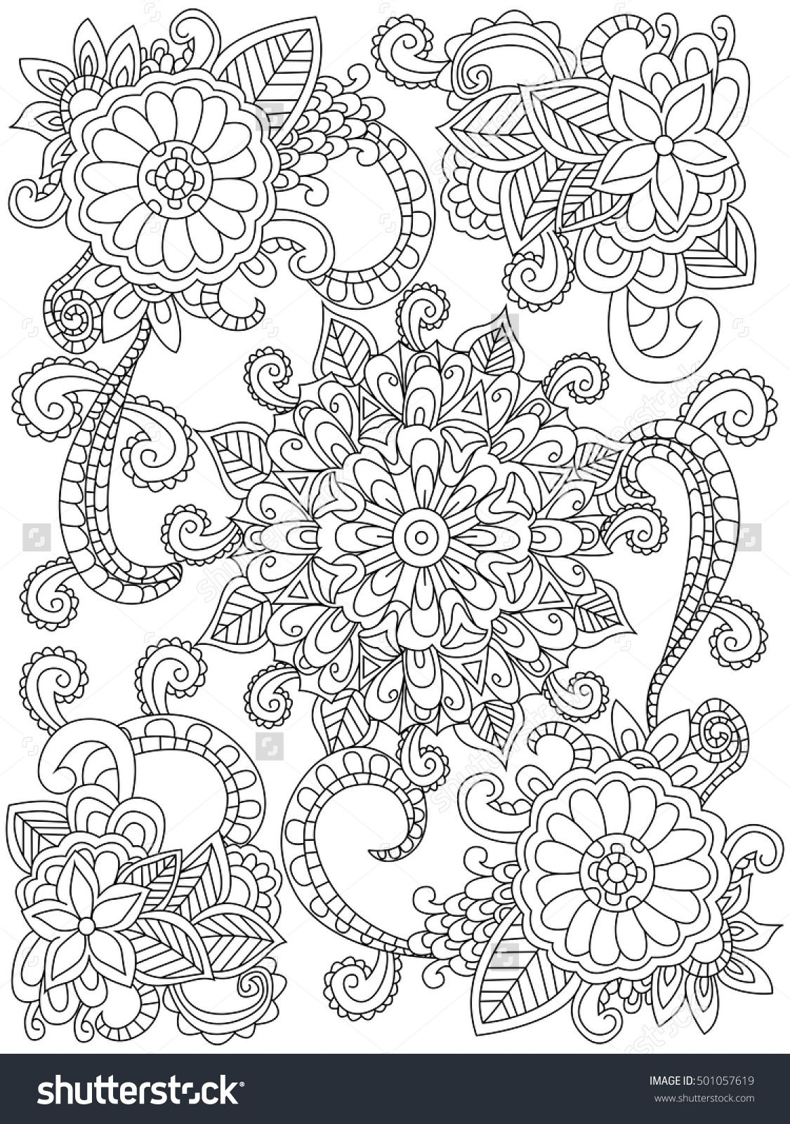 Mandala Flower Coloring Book For Adults Vector