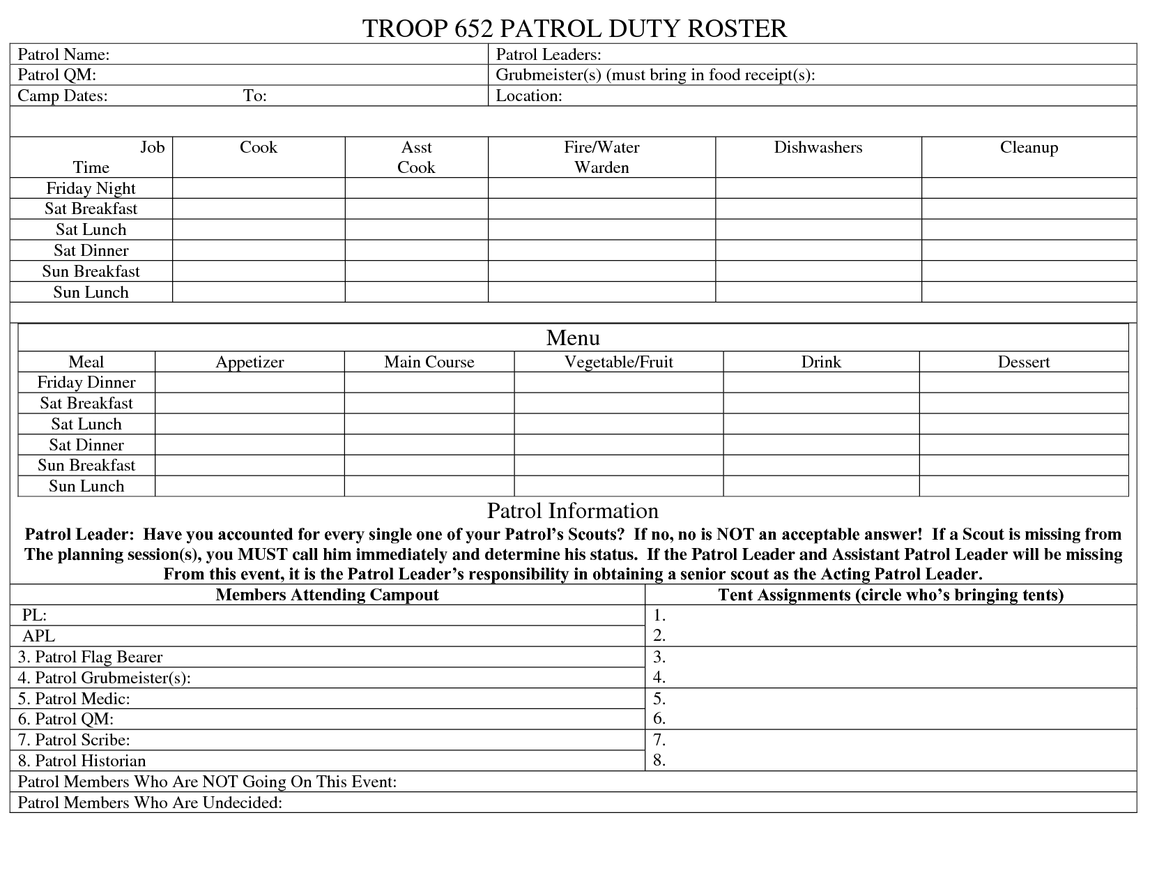Template For Boy Scout Camping Trips