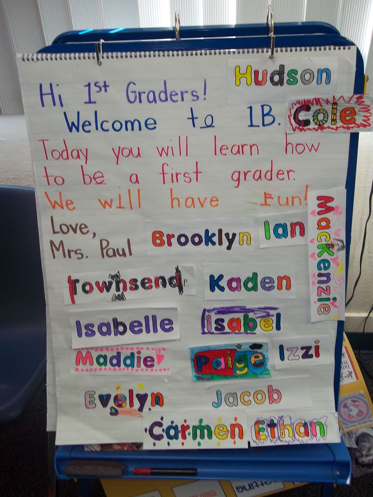 First Day Of School Morning Message For First Grade