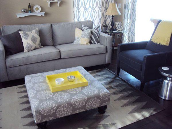 Living Room...beige/khaki Walls, Grey & Blue Furniture