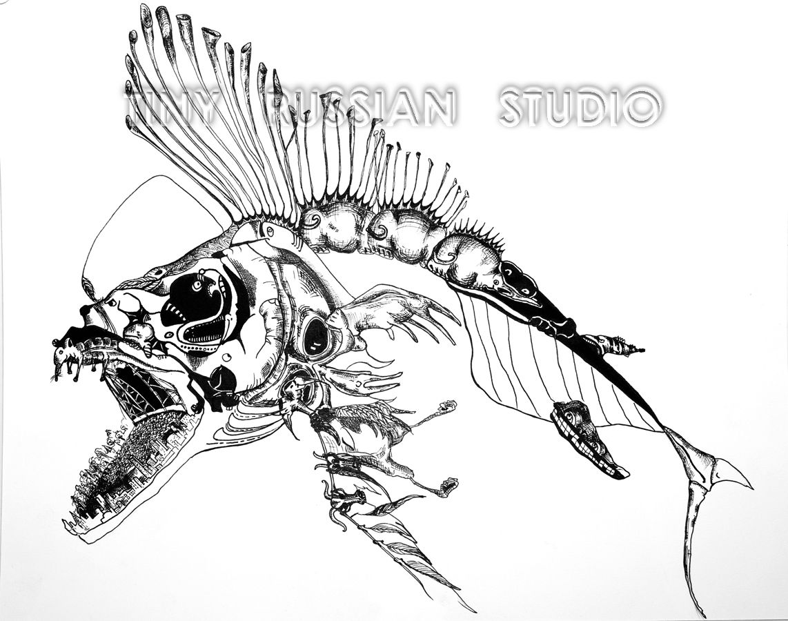 Angler Fish Skeleton Made Of Various Creatures