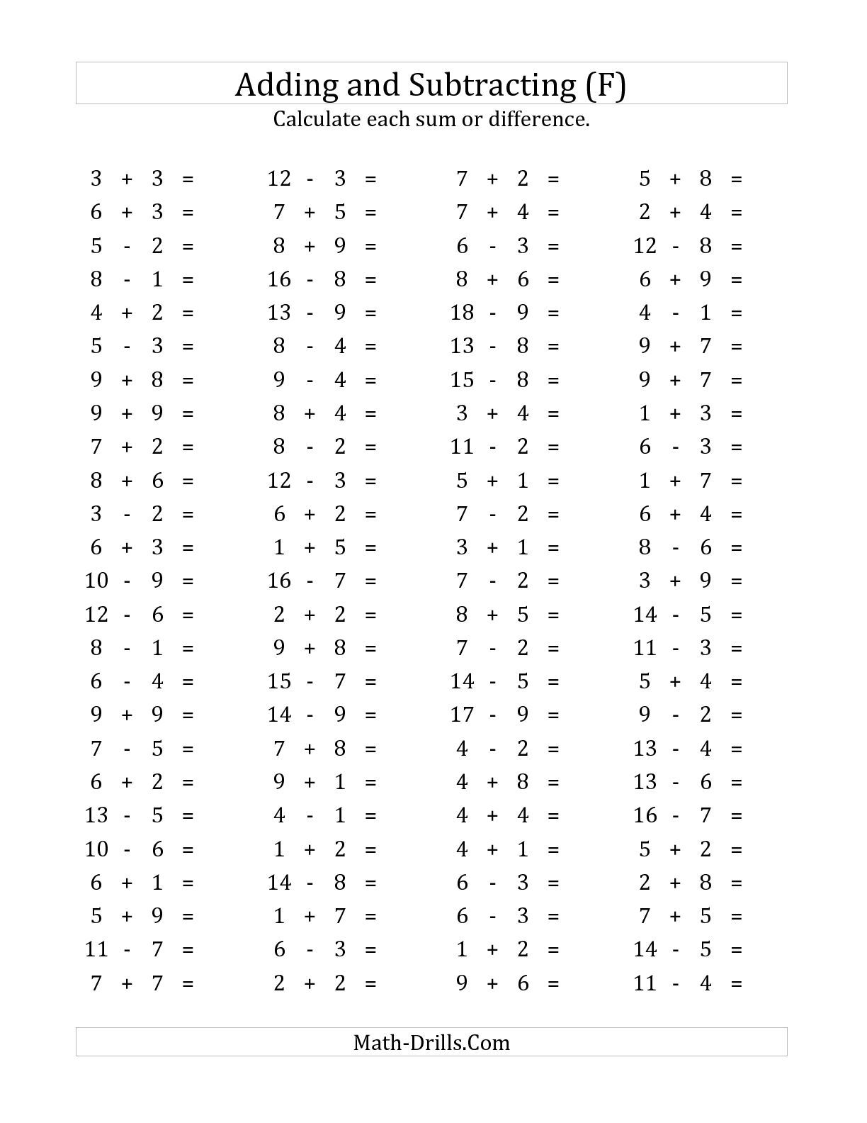 The 100 Horizontal Addition Subtraction Questions Facts 1 To 9 F Math Worksheet From The