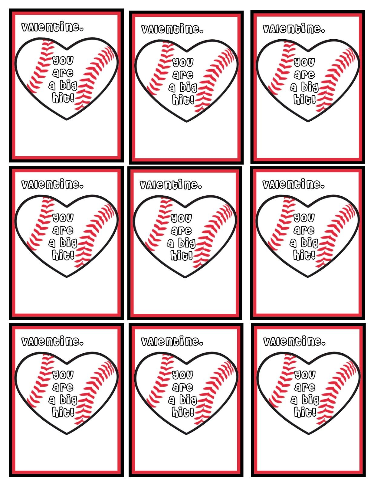 You Are A Big Hit Baseball Valentines Free Printables