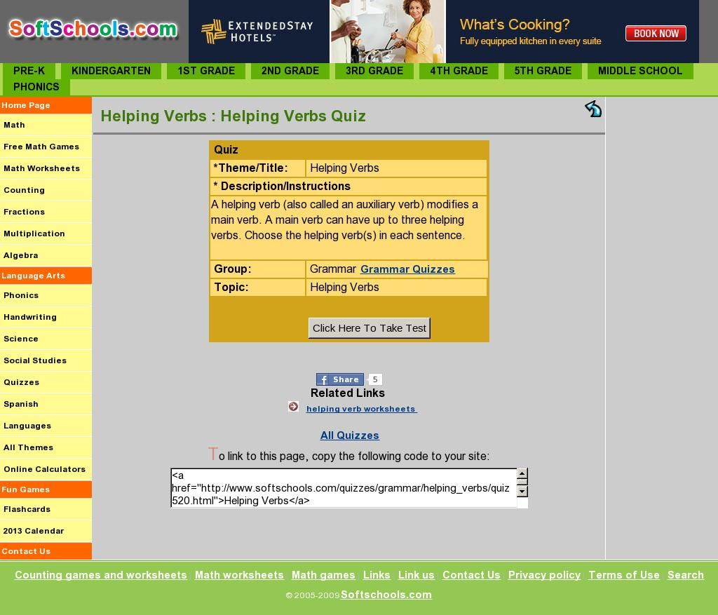 Helping Verb Quiz From Ftschools
