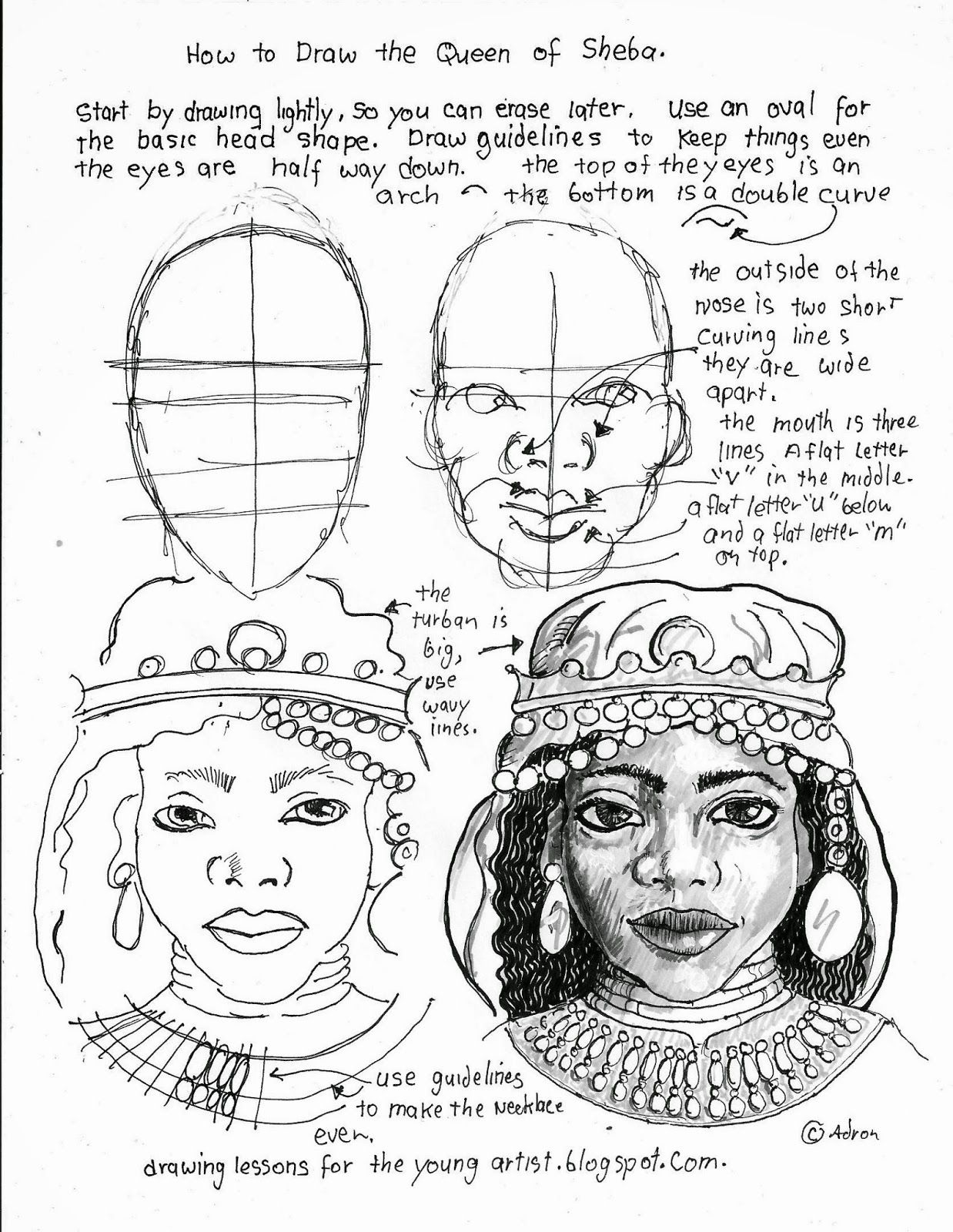 How To Draw The Queen Of Sheba Free Printable Drawing Worksheet See More At My Blog